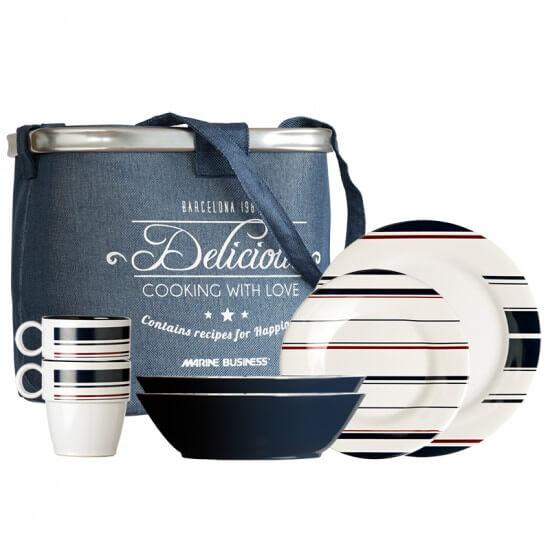 24-teiliges Geschirrset + Tragebehälter Monaco Marine Business MARINE BUSINESS Bootsgeschirr