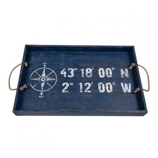 BATELA maritimes Tablett eckig Koordinaten BATELA Maritime Dekoration