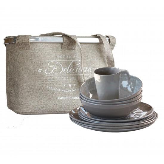 24-teiliges Geschirrset + Korb Rosette coconut MARINE BUSINESS Bootsgeschirr