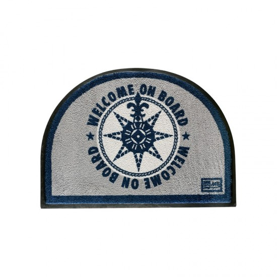 Rutschfeste Fußmatte Round blue on board Welcome Marine Business