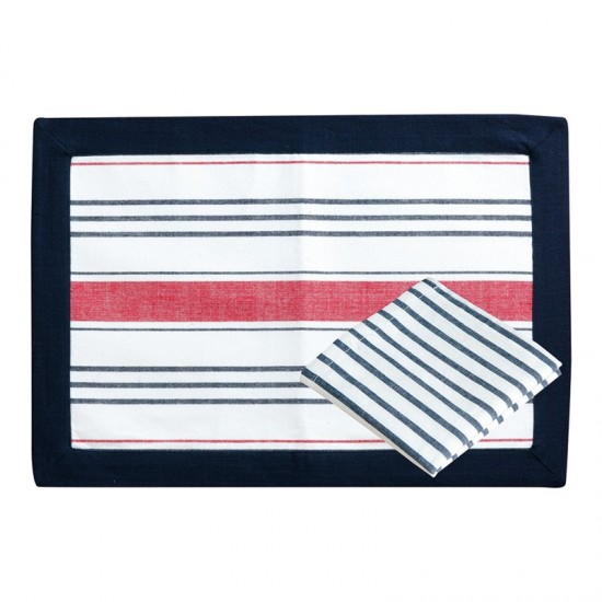 Platzdecke + Servietten Red/Blue striped Marine Business MARINE BUSINESS Tischwaren