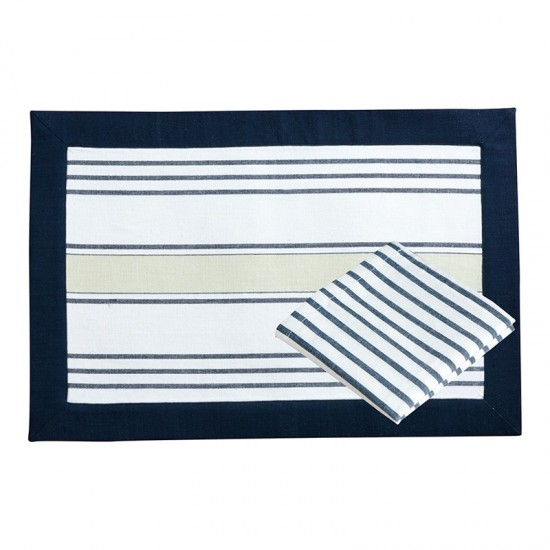 Platzdecke + Servietten Beige/Blue striped Marine Business MARINE BUSINESS Tischwaren