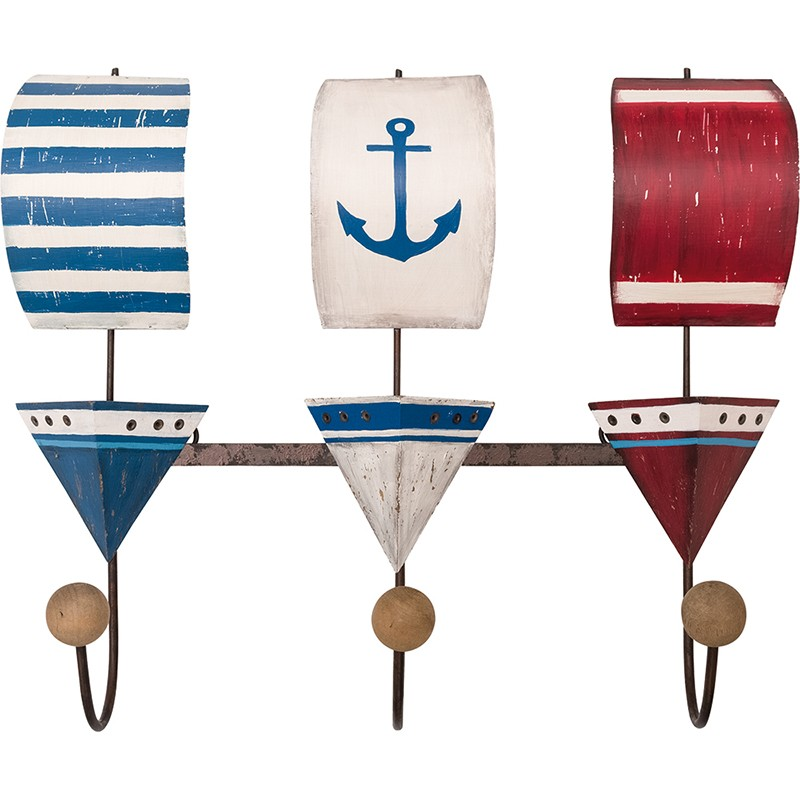 BATELA maritimes Kleiderhaken-Set Segelboote  Accessoiries