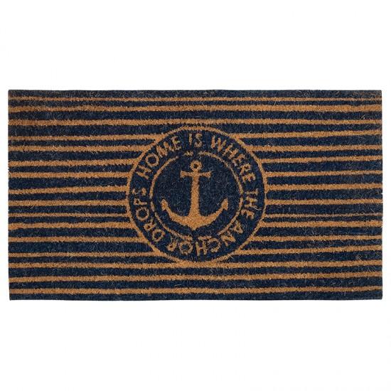 BATELA Rutschfeste maritime Fußmatte Anker gestreift  Maritime Dekoration