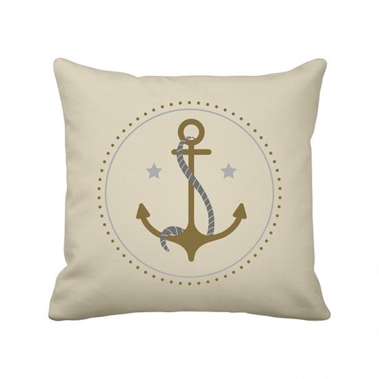 Krasilnikoff Maritimer Kissenbezug Anker gold  Maritime Kissen
