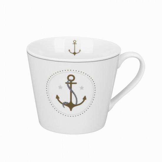 Krasilnikoff Maritimer Kaffeebecher Anker gold  KRASILNIKOFF