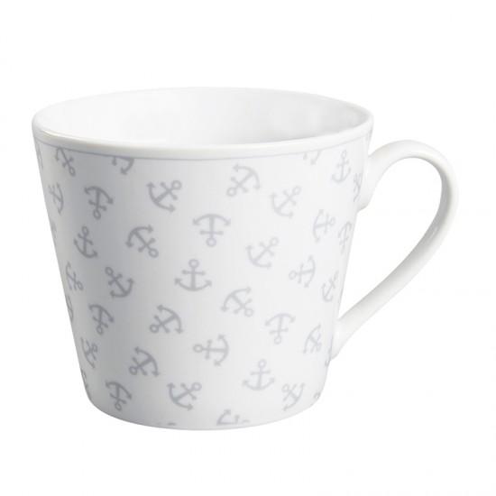 Krasilnikoff Maritimer Kaffeebecher Anker weiß-grau  KRASILNIKOFF