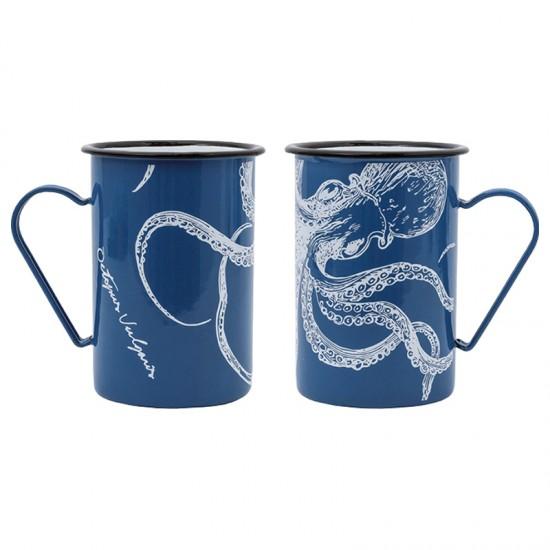 BATELA Maritimer Emaille Becher Octopus  BATELA maritimes Porzellan