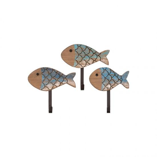 BATELA maritimer Kleiderhaken Fischset groß  Maritime Dekoration