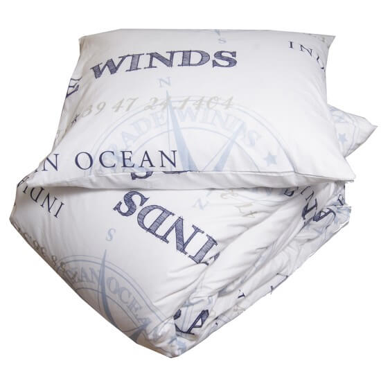 Bettwäsche maritim PERCALE TRADEWIND white/navy/light blue